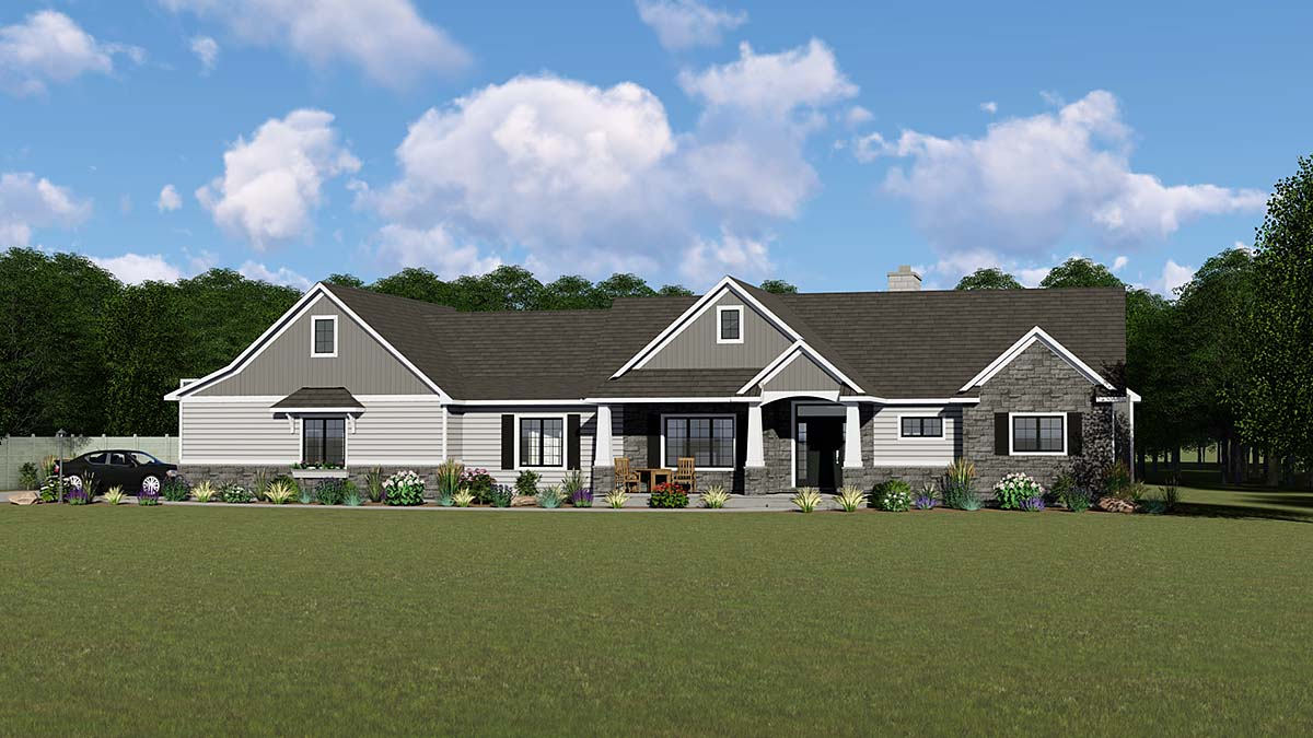 Bungalow, Country, Craftsman House Plan 51861 with 2 Beds, 2 Baths, 2 Car Garage Elevation