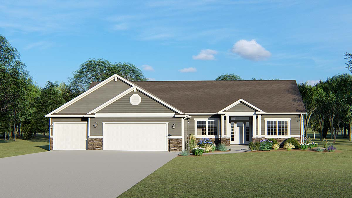 Bungalow, Craftsman, Ranch, Traditional House Plan 51862 with 3 Beds, 3 Baths, 3 Car Garage Front Elevation