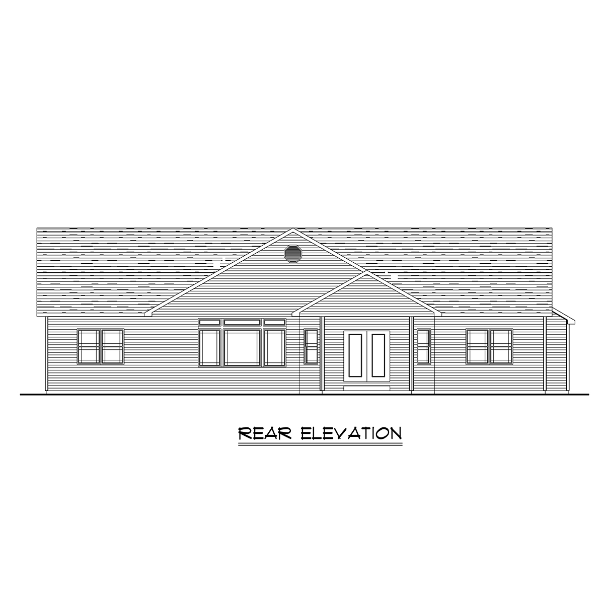 Bungalow, Craftsman, Ranch, Traditional House Plan 51862 with 3 Beds, 3 Baths, 3 Car Garage Rear Elevation