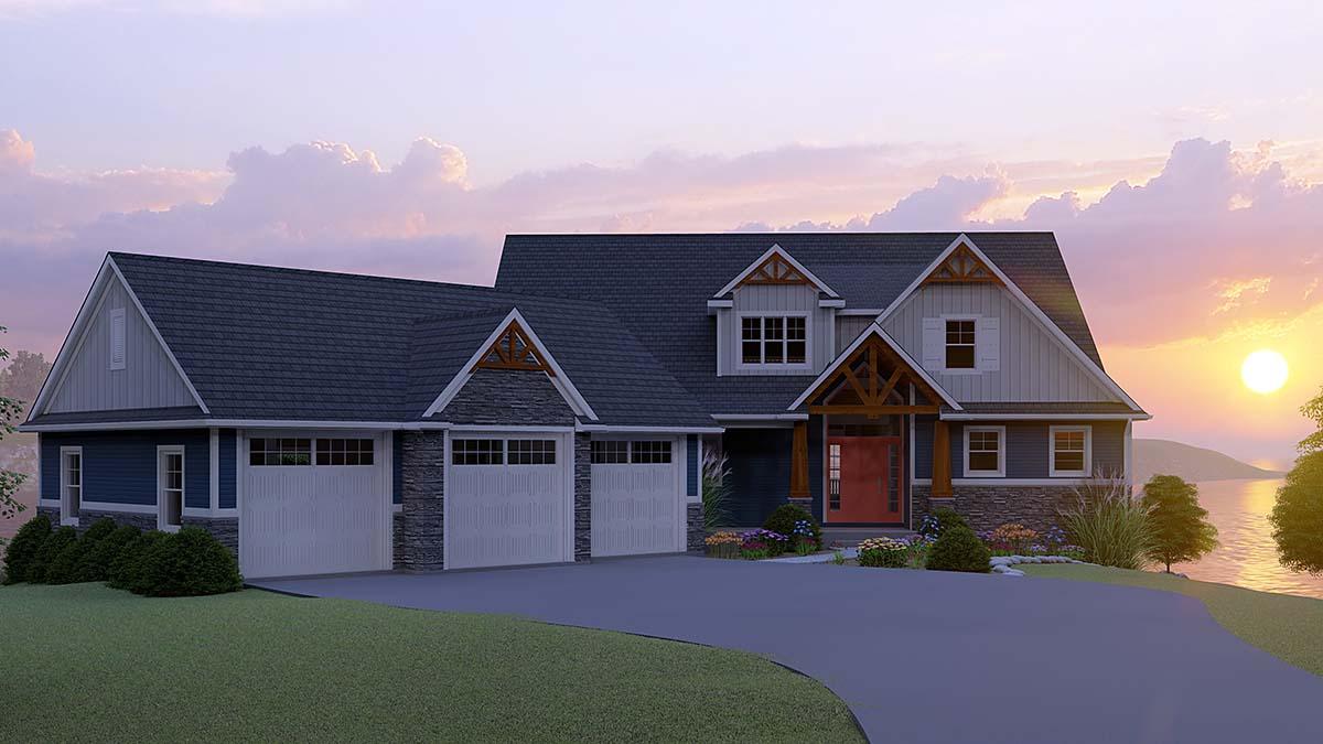 Bungalow, Cottage, Craftsman House Plan 51863 with 3 Beds, 4 Baths, 3 Car Garage Front Elevation