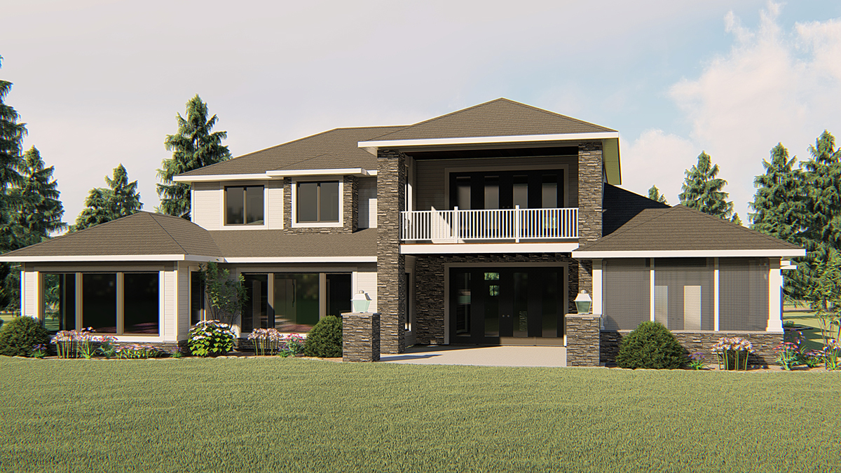 Contemporary, Craftsman House Plan 51866 with 4 Beds, 3 Baths, 4 Car Garage Rear Elevation