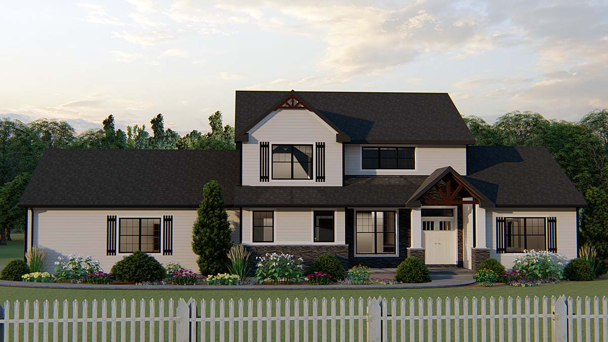 Country, Craftsman, Farmhouse, Traditional House Plan 51867 with 4 Beds, 3 Baths, 2 Car Garage Front Elevation