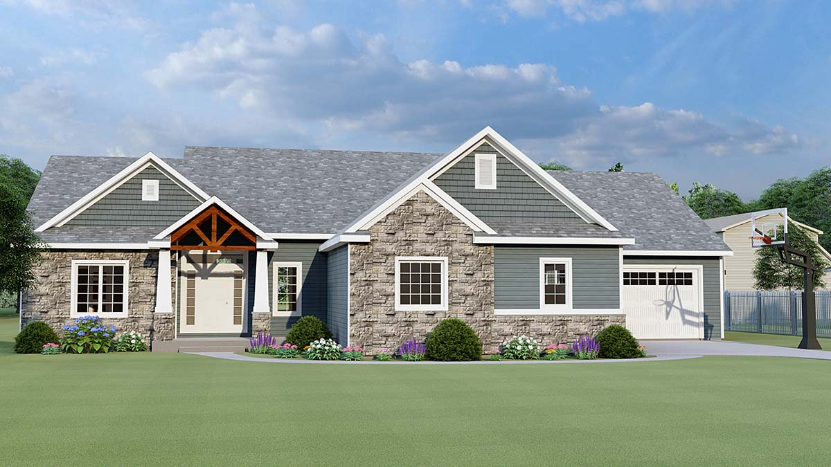 Cottage, Country, Craftsman House Plan 51869 with 3 Beds, 3 Baths, 3 Car Garage Elevation