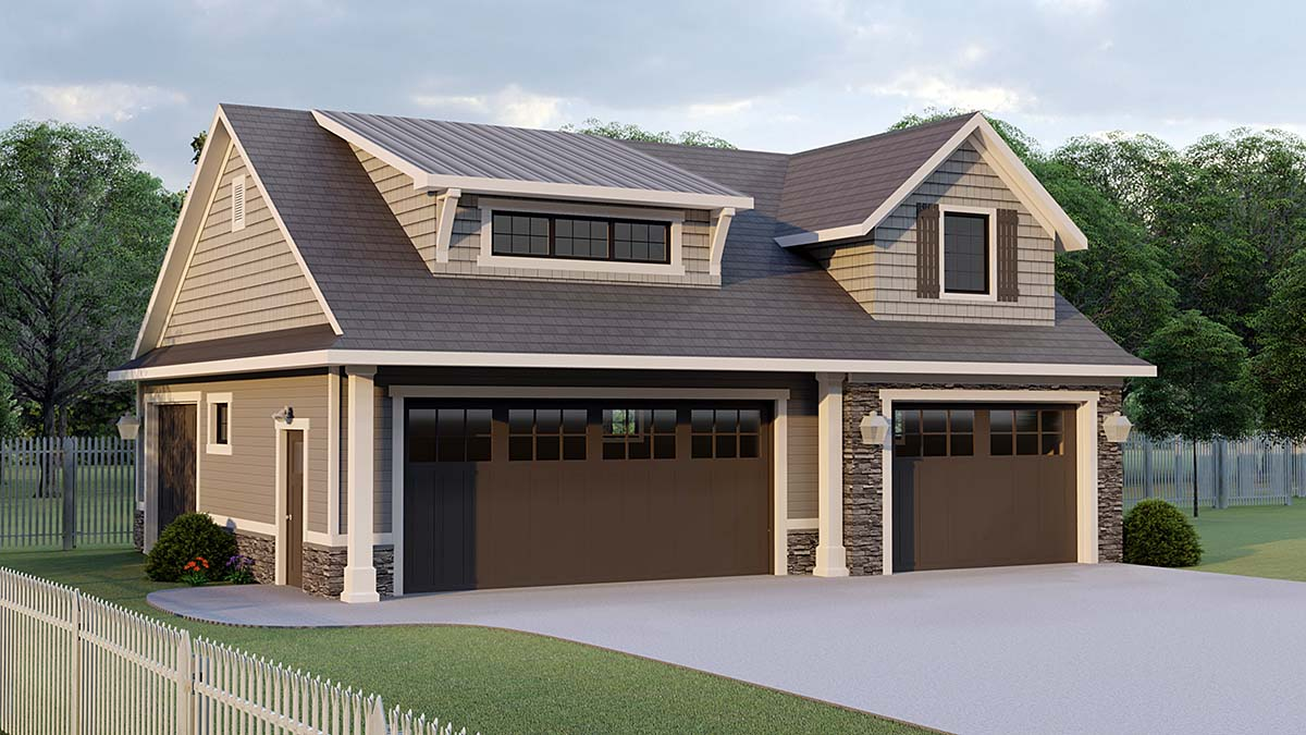 Bungalow, Cottage, Country, Craftsman, French Country 3 Car Garage Plan 51870 Front Elevation