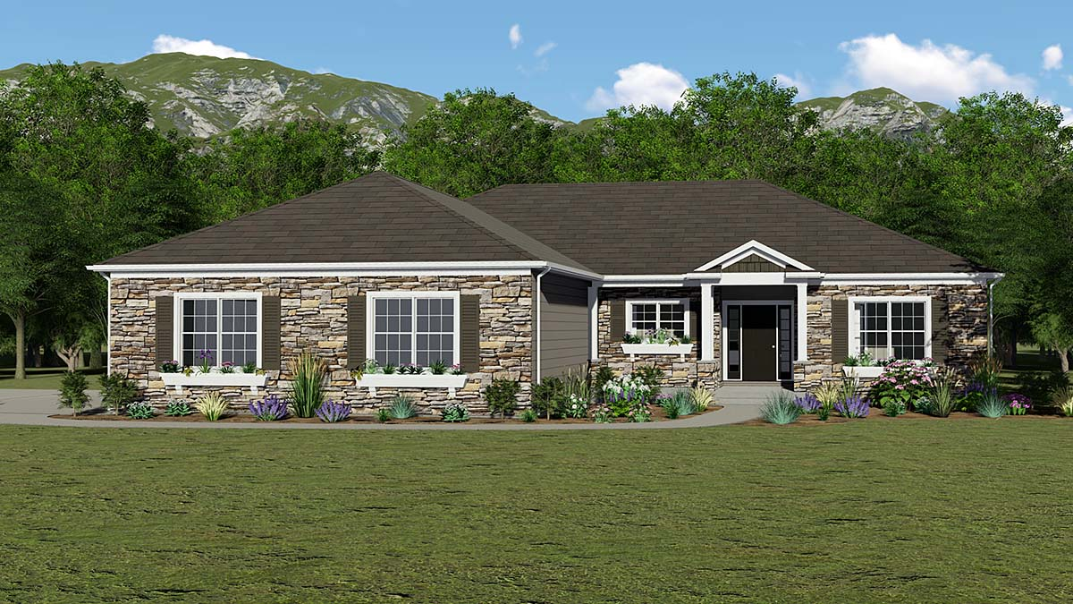 Country, European, French Country, Ranch House Plan 51872 with 3 Beds, 2 Baths, 3 Car Garage Front Elevation