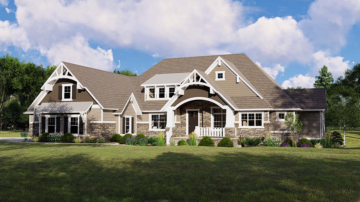 Country, Ranch, Traditional House Plan 51874 with 2 Beds, 3 Baths, 4 Car Garage Front Elevation