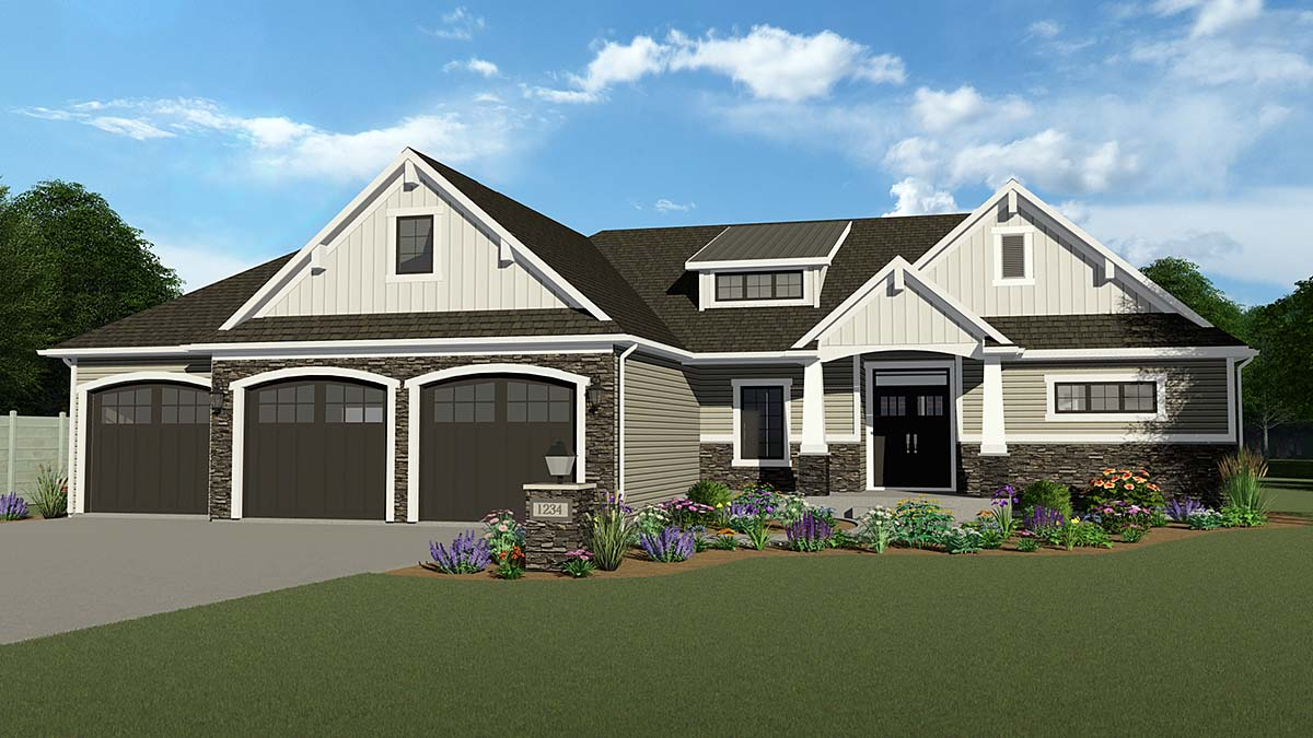Country, Ranch, Traditional House Plan 51875 with 2 Beds, 2 Baths, 3 Car Garage Front Elevation