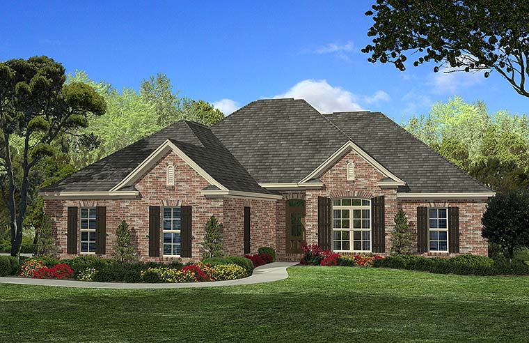 Country, European, French Country House Plan 51901 with 4 Beds, 2 Baths, 2 Car Garage Elevation