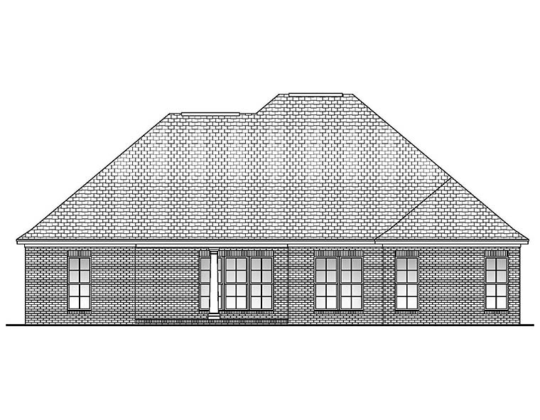 Country, European, French Country House Plan 51901 with 4 Beds, 2 Baths, 2 Car Garage Rear Elevation