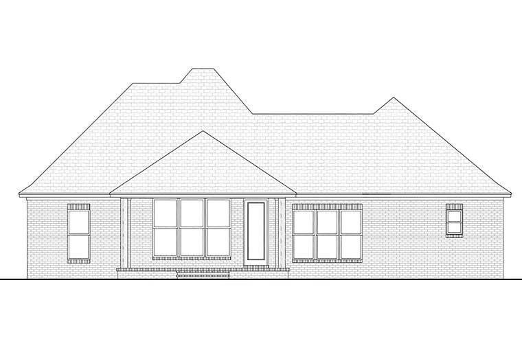 Country, European, French Country House Plan 51911 with 3 Beds, 2 Baths, 2 Car Garage Rear Elevation