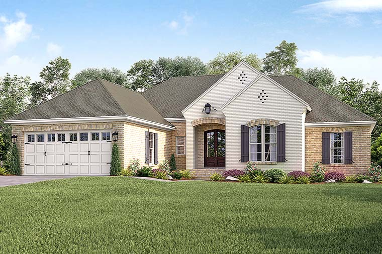 Country, European, French Country House Plan 51918 with 4 Beds, 2 Baths, 2 Car Garage Front Elevation
