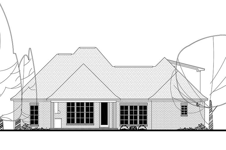 Country, French Country, Southern House Plan 51925 with 4 Beds, 3 Baths, 2 Car Garage Rear Elevation