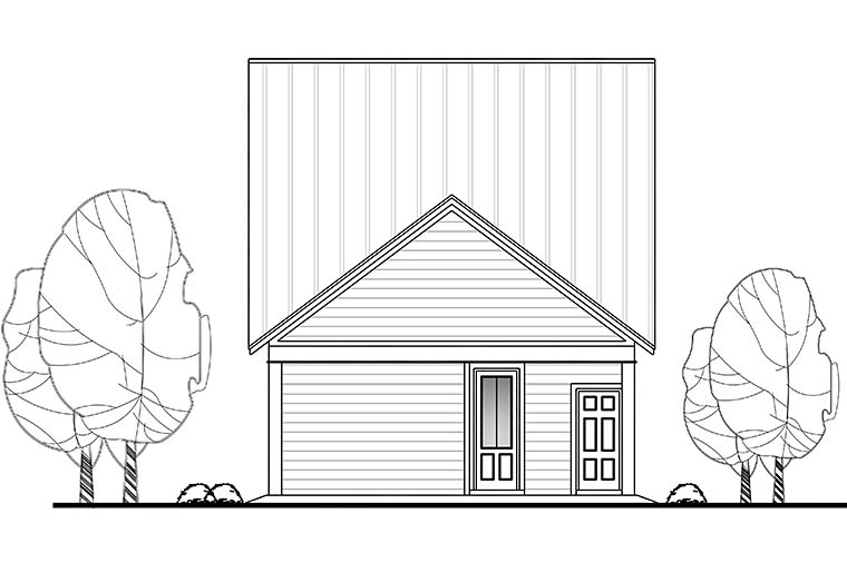 Cottage, Country, Southern, Traditional House Plan 51933 with 4 Beds, 3 Baths, 2 Car Garage Rear Elevation