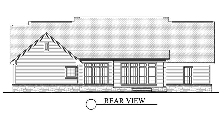 Country, Ranch, Southern, Traditional House Plan 51938 with 4 Beds, 3 Baths, 2 Car Garage Rear Elevation