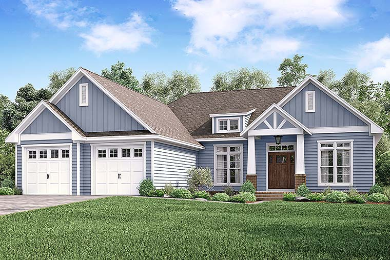 Cottage, Craftsman, Traditional House Plan 51939 with 3 Beds, 3 Baths, 2 Car Garage Elevation