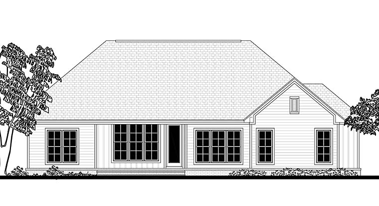 Cottage, Craftsman, Traditional House Plan 51939 with 3 Beds, 3 Baths, 2 Car Garage Rear Elevation