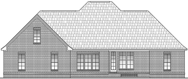 European, French Country House Plan 51946 with 4 Beds, 3 Baths, 2 Car Garage Rear Elevation