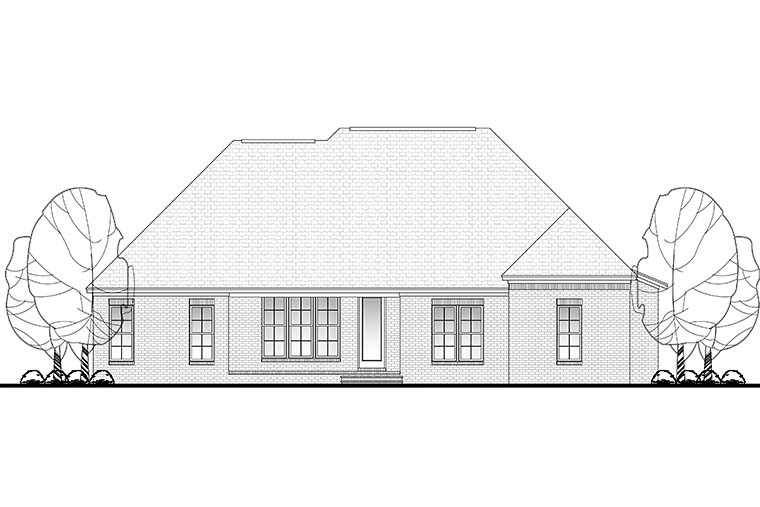 European, French Country, Traditional House Plan 51948 with 4 Beds, 3 Baths, 2 Car Garage Rear Elevation