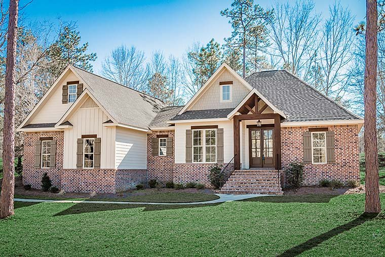 Country, French Country, Traditional House Plan 51966 with 3 Beds, 3 Baths, 2 Car Garage Front Elevation