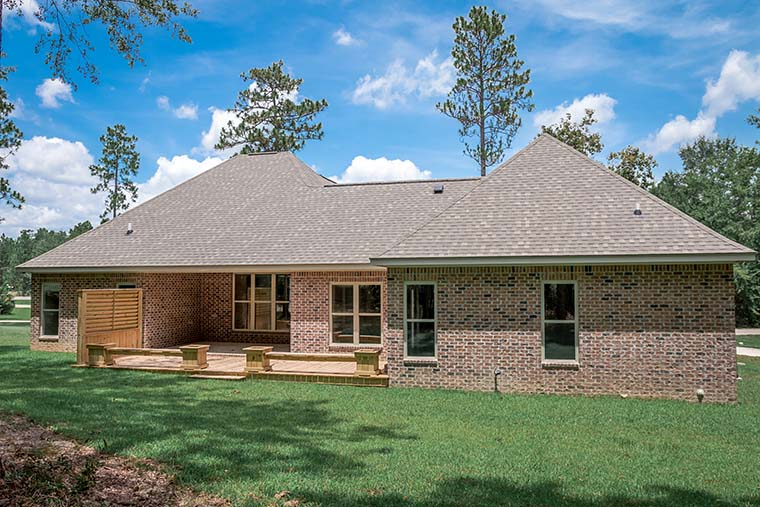 Country, French Country, Traditional House Plan 51966 with 3 Beds, 3 Baths, 2 Car Garage Rear Elevation