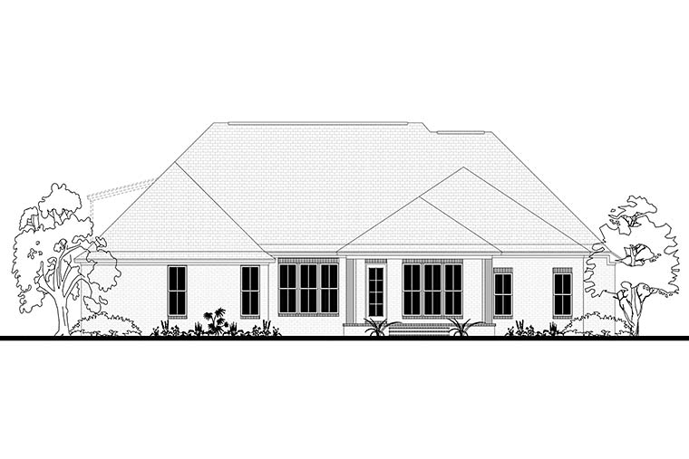 European, French Country Plan with 2404 Sq. Ft., 4 Bedrooms, 3 Bathrooms, 2 Car Garage Rear Elevation