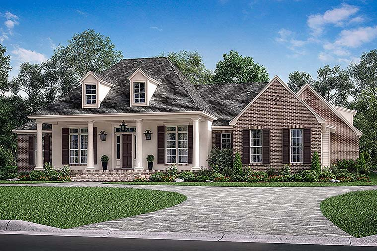 Country, European, French Country House Plan 51970 with 3 Beds, 3 Baths, 2 Car Garage Elevation