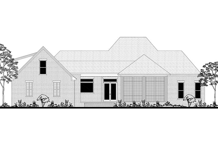 Country, European, French Country House Plan 51970 with 3 Beds, 3 Baths, 2 Car Garage Rear Elevation