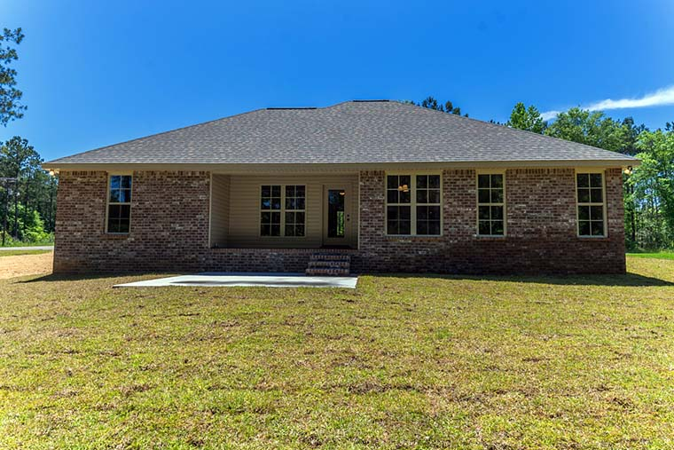 Country, Traditional Plan with 1719 Sq. Ft., 4 Bedrooms, 2 Bathrooms, 2 Car Garage Rear Elevation