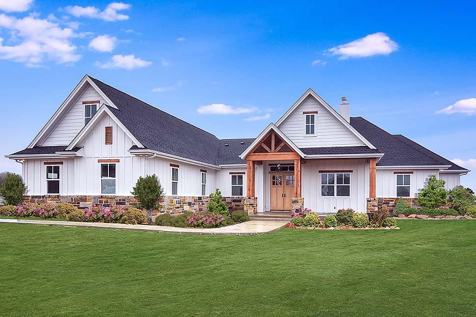Cottage, Craftsman, Southern House Plan 51978 with 5 Beds, 4 Baths, 3 Car Garage Front Elevation