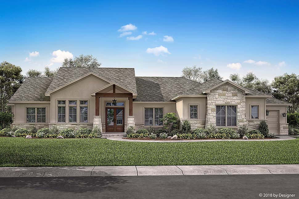 Bungalow, Contemporary, Cottage, Craftsman, Tuscan House Plan 51982 with 3 Beds, 3 Baths, 3 Car Garage Picture 1