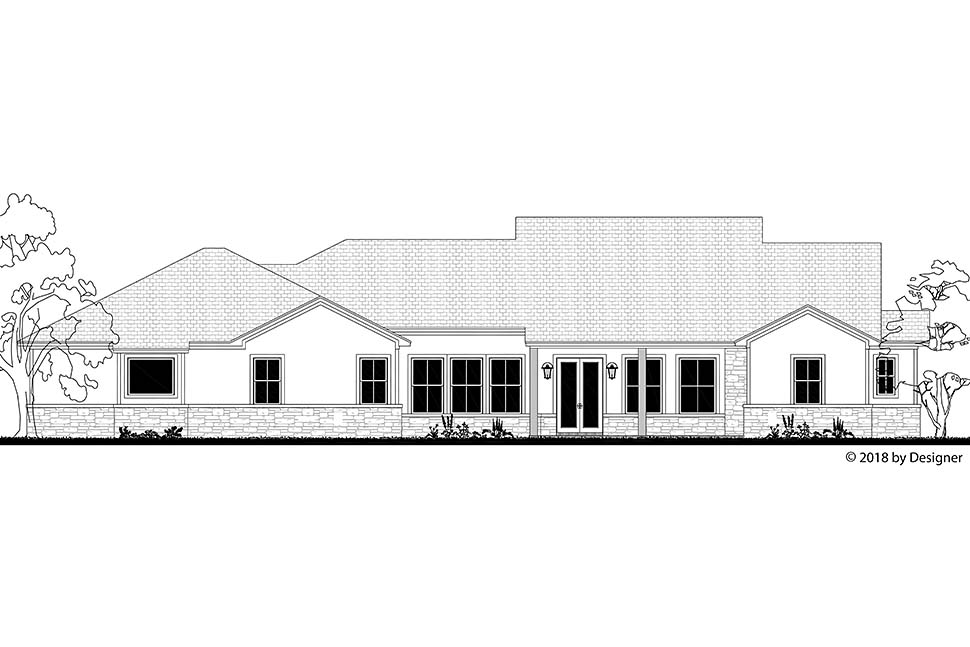 Bungalow, Contemporary, Cottage, Craftsman, Tuscan House Plan 51982 with 3 Beds, 3 Baths, 3 Car Garage Rear Elevation
