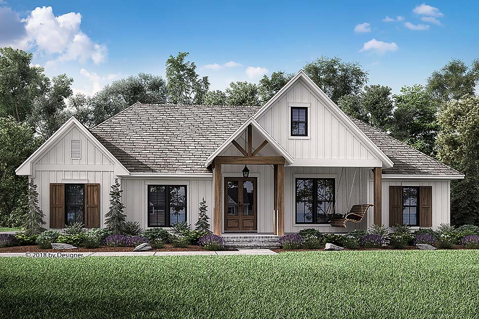 Country, Farmhouse, Southern House Plan 51984 with 3 Beds, 3 Baths, 2 Car Garage Front Elevation