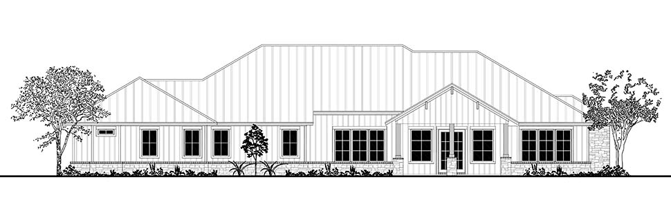 Country, Craftsman, Ranch House Plan 51987 with 4 Beds, 4 Baths, 3 Car Garage Rear Elevation