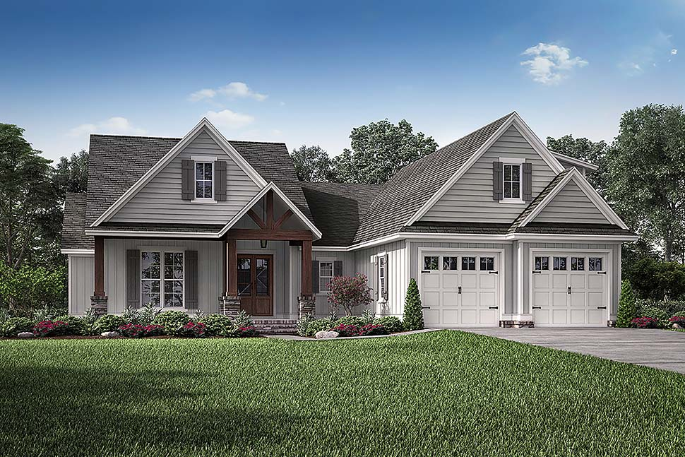 Cottage, Country, Craftsman House Plan 51990 with 3 Beds, 2 Baths, 2 Car Garage Elevation