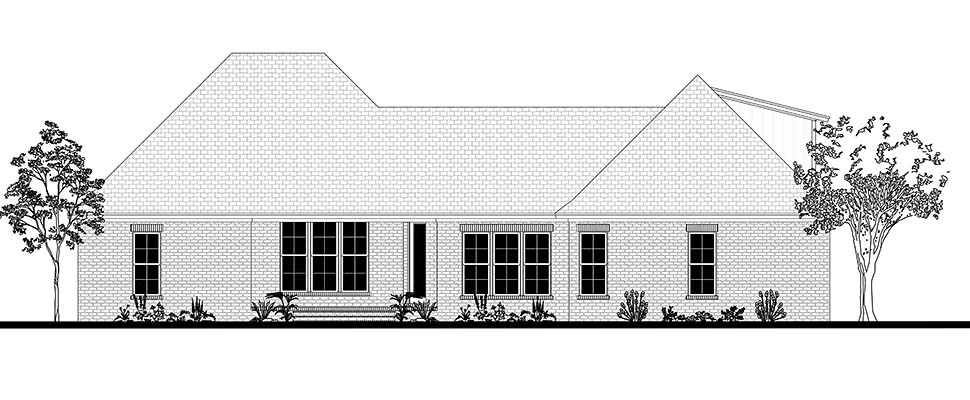 Country, Farmhouse, Traditional House Plan 51991 with 4 Beds, 2 Baths, 2 Car Garage Rear Elevation