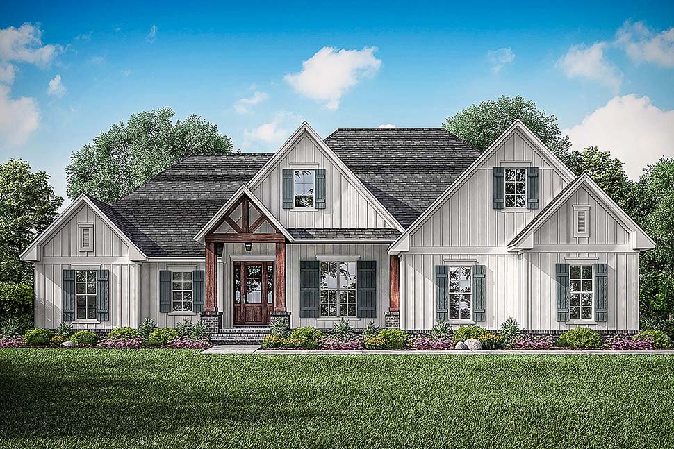 Country, Craftsman, Farmhouse House Plan 51992 with 3 Beds, 3 Baths, 2 Car Garage Front Elevation