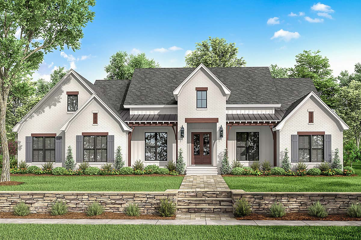 Country, Farmhouse, Traditional House Plan 51995 with 4 Beds, 4 Baths, 2 Car Garage Elevation