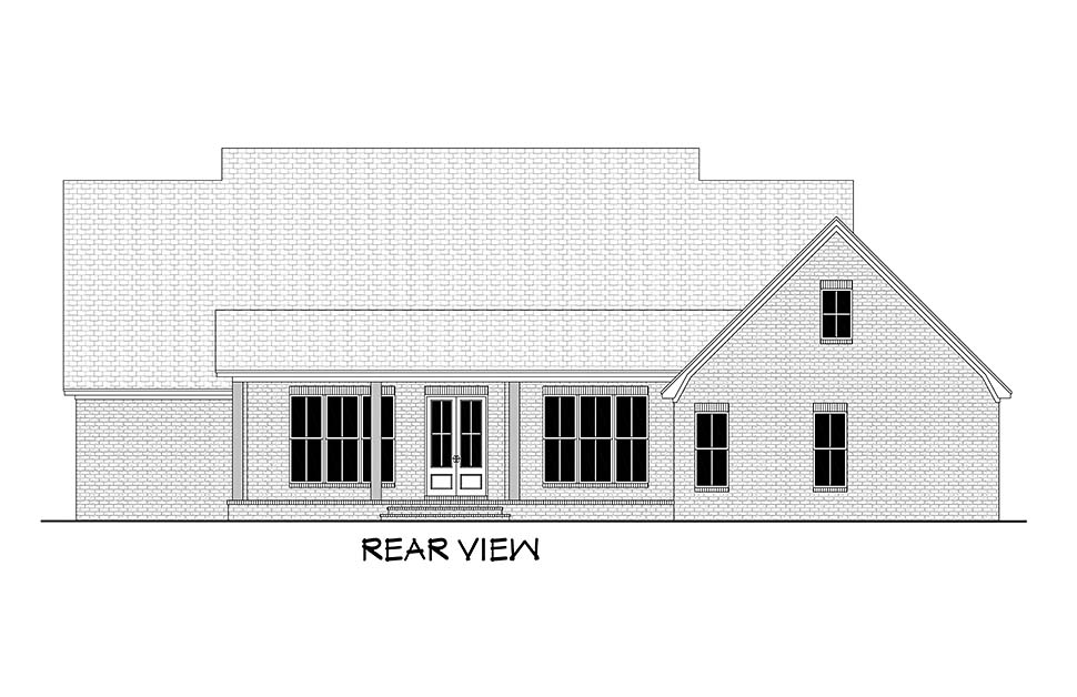 Country, Farmhouse, Traditional House Plan 51995 with 4 Beds, 4 Baths, 2 Car Garage Rear Elevation