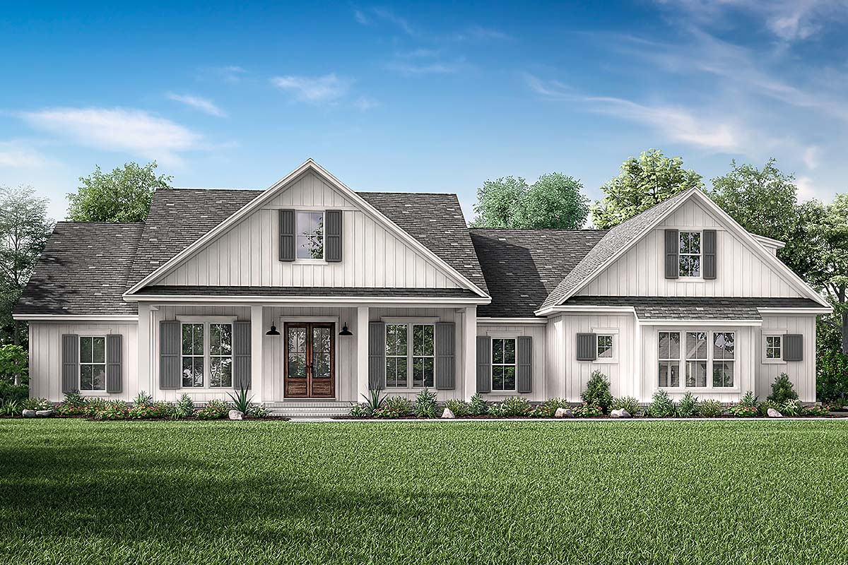 Country, Farmhouse, Southern House Plan 51998 with 4 Beds, 3 Baths, 2 Car Garage Elevation