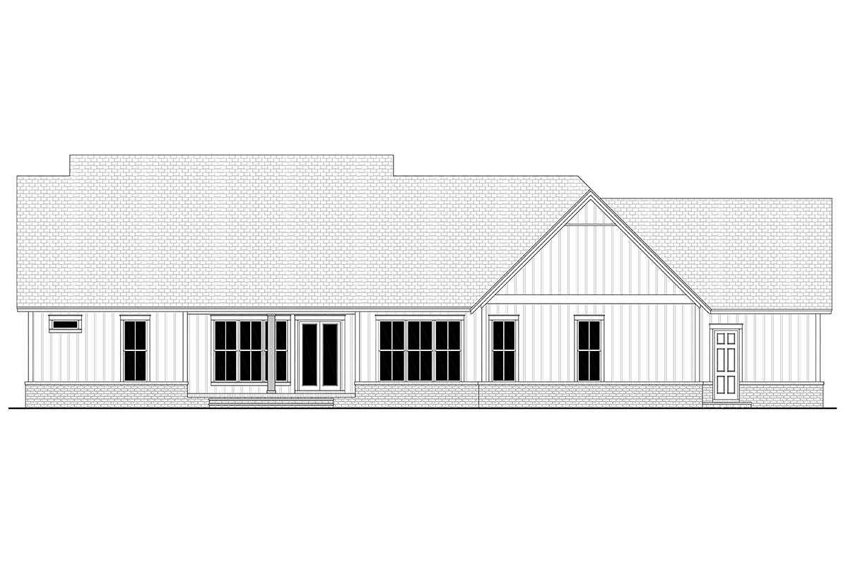 Country, Farmhouse, Southern House Plan 51999 with 4 Beds, 4 Baths, 3 Car Garage Rear Elevation