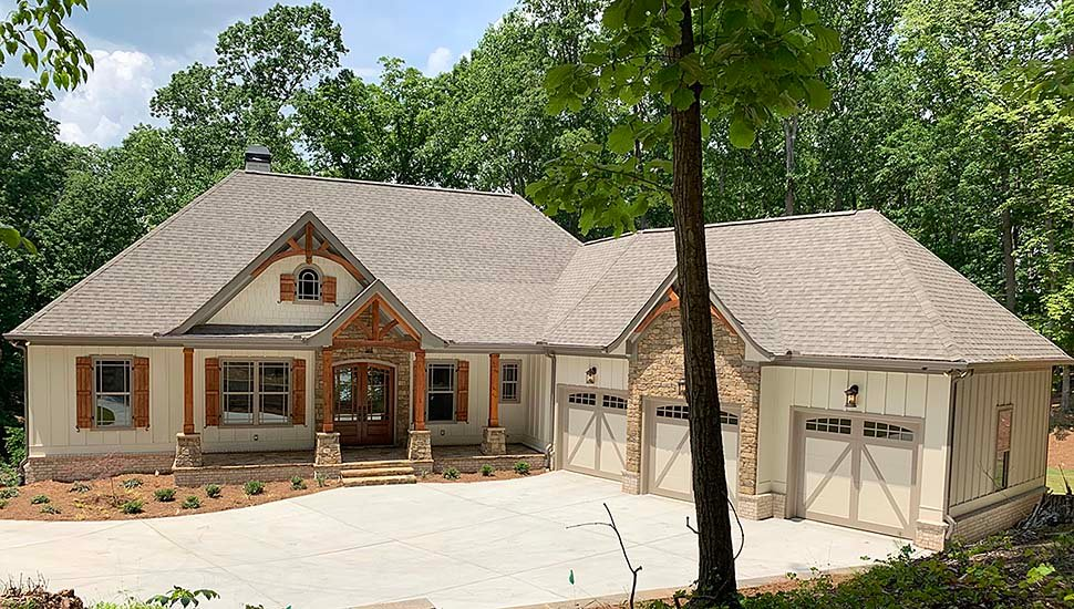 Country, Craftsman, French Country House Plan 52005 with 4 Beds, 4 Baths, 3 Car Garage Front Elevation