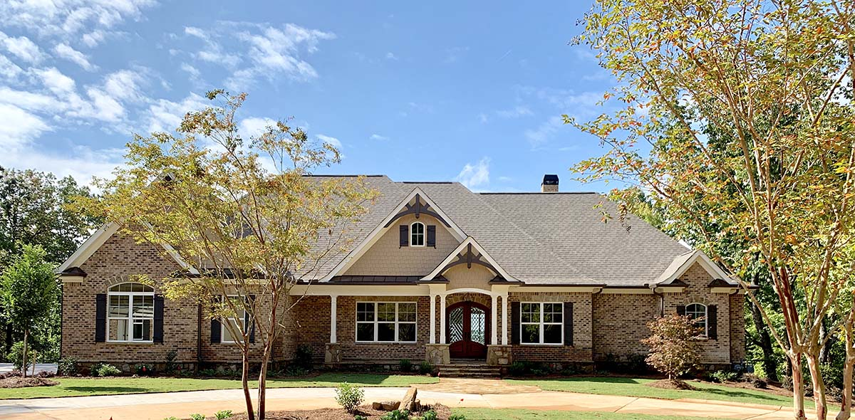 Craftsman, Ranch, Tudor House Plan 52021 with 4 Beds, 5 Baths, 3 Car Garage Front Elevation