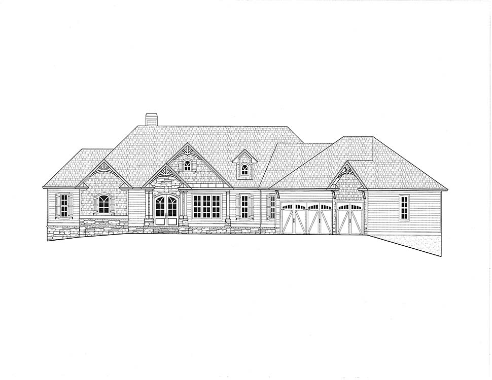Cottage, Craftsman House Plan 52026 with 4 Beds, 4 Baths, 3 Car Garage Picture 1