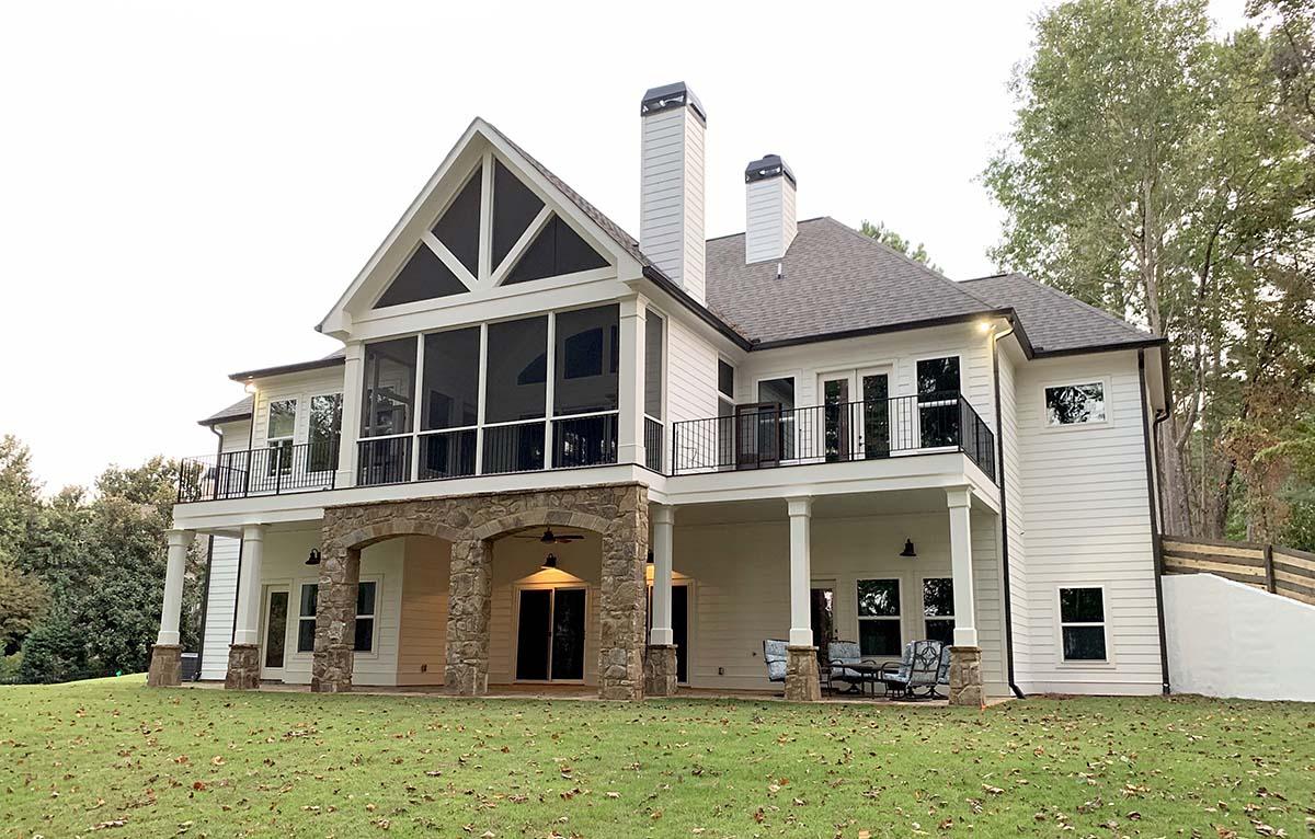 Cottage, Craftsman House Plan 52026 with 4 Beds, 4 Baths, 3 Car Garage Rear Elevation