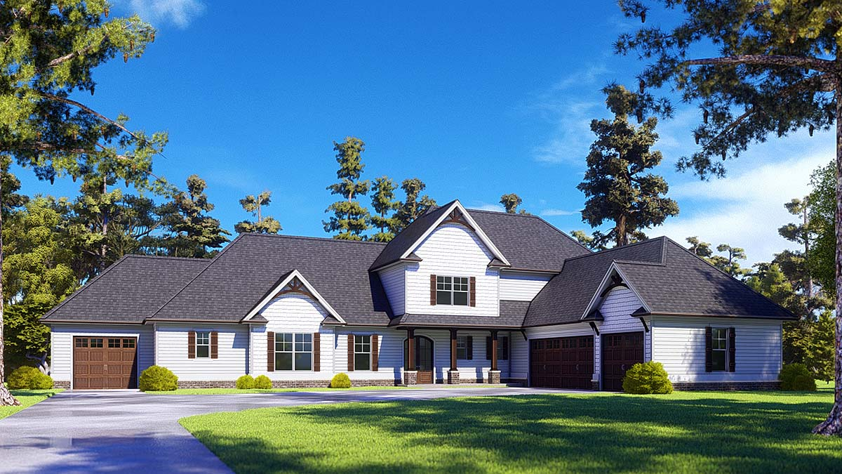 Craftsman, Farmhouse House Plan 52030 with 4 Beds, 4 Baths, 4 Car Garage Elevation