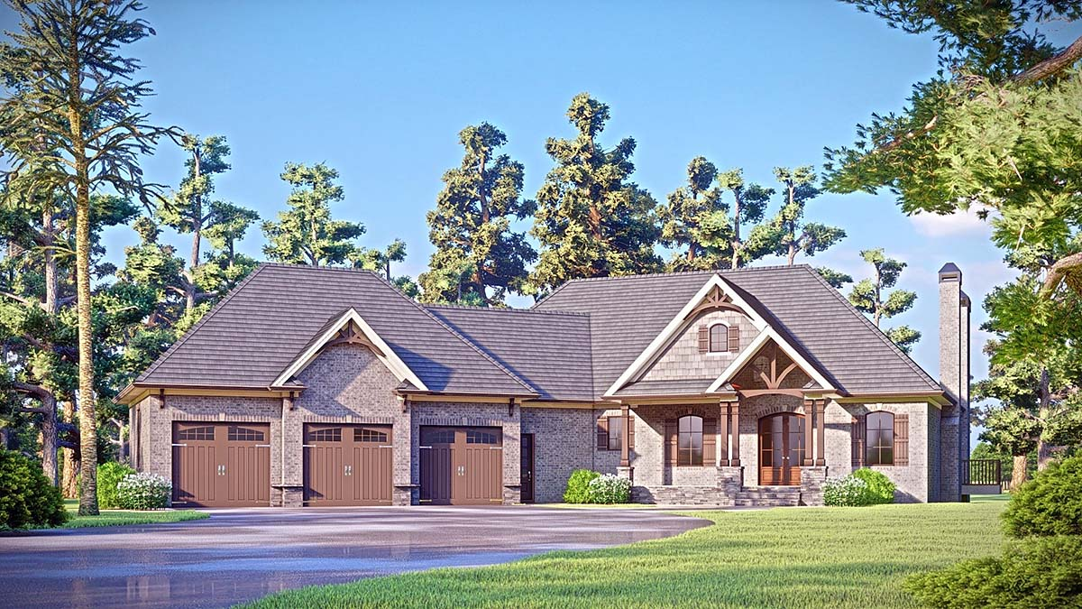 Craftsman, Traditional House Plan 52033 with 3 Beds, 4 Baths, 4 Car Garage Elevation