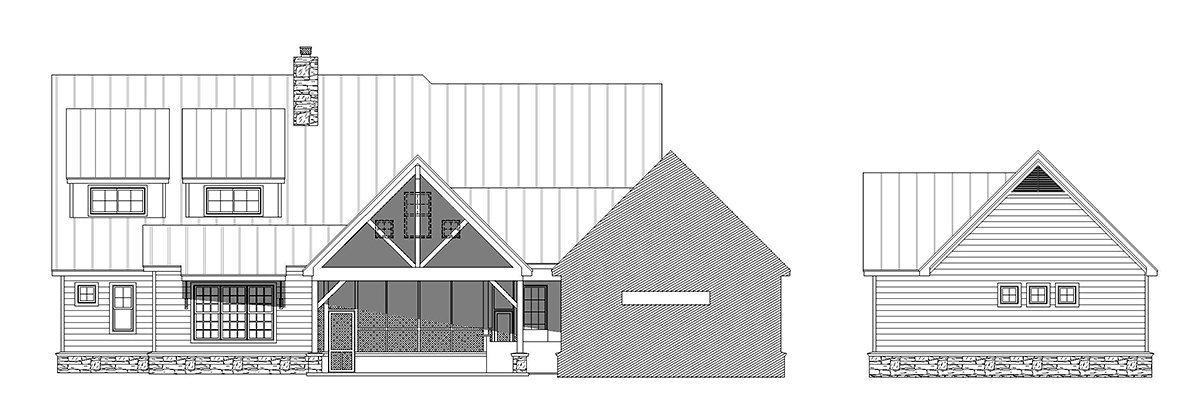 Country, Farmhouse, Traditional House Plan 52111 with 6 Beds, 5 Baths, 4 Car Garage Rear Elevation