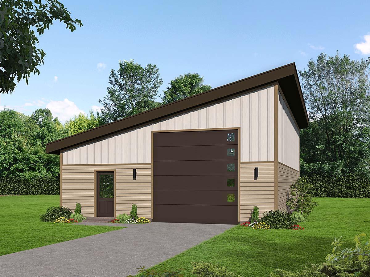 Contemporary, Modern 2 Car Garage Plan 52112, RV Storage Elevation