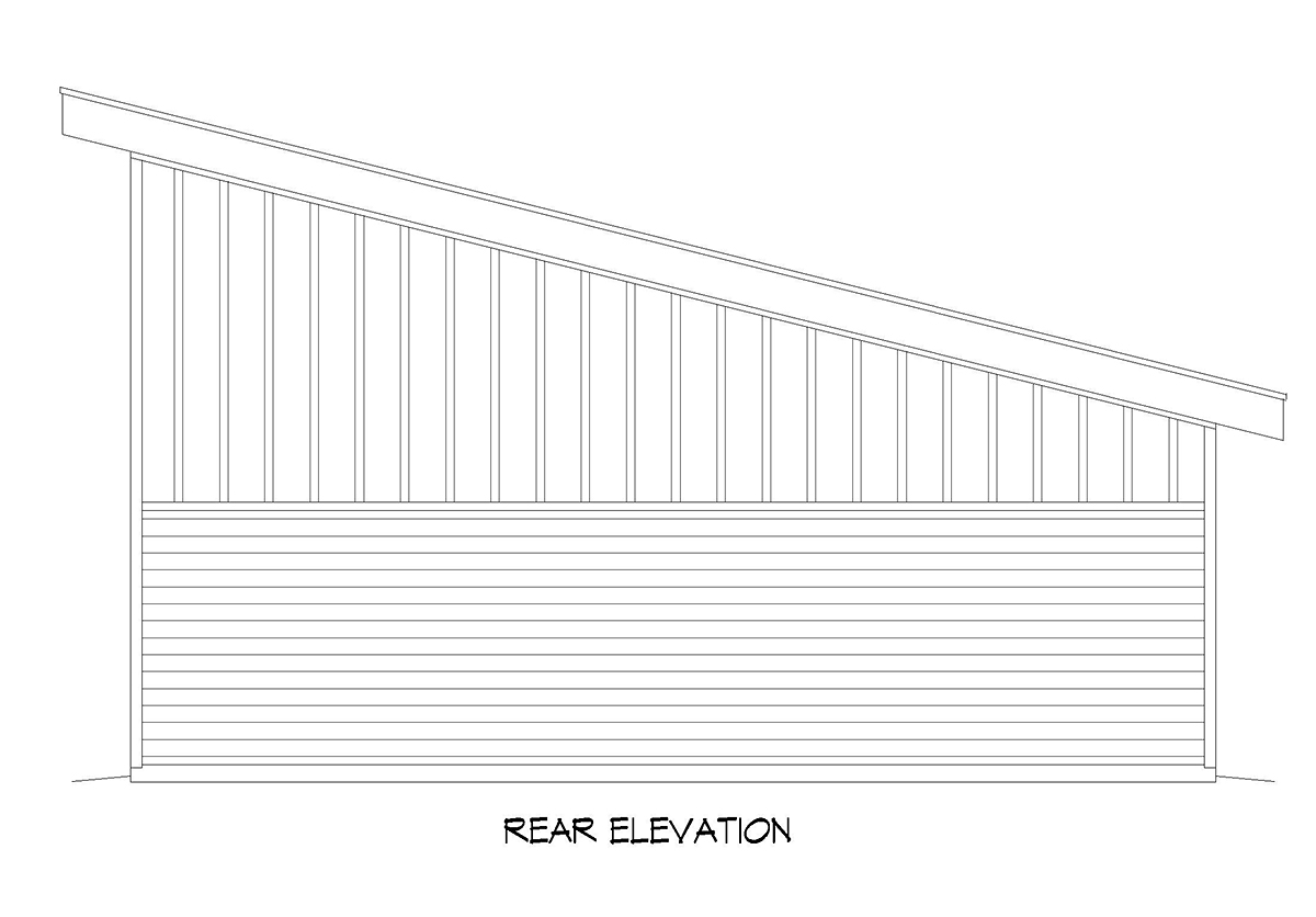 Contemporary, Modern 2 Car Garage Plan 52112, RV Storage Rear Elevation