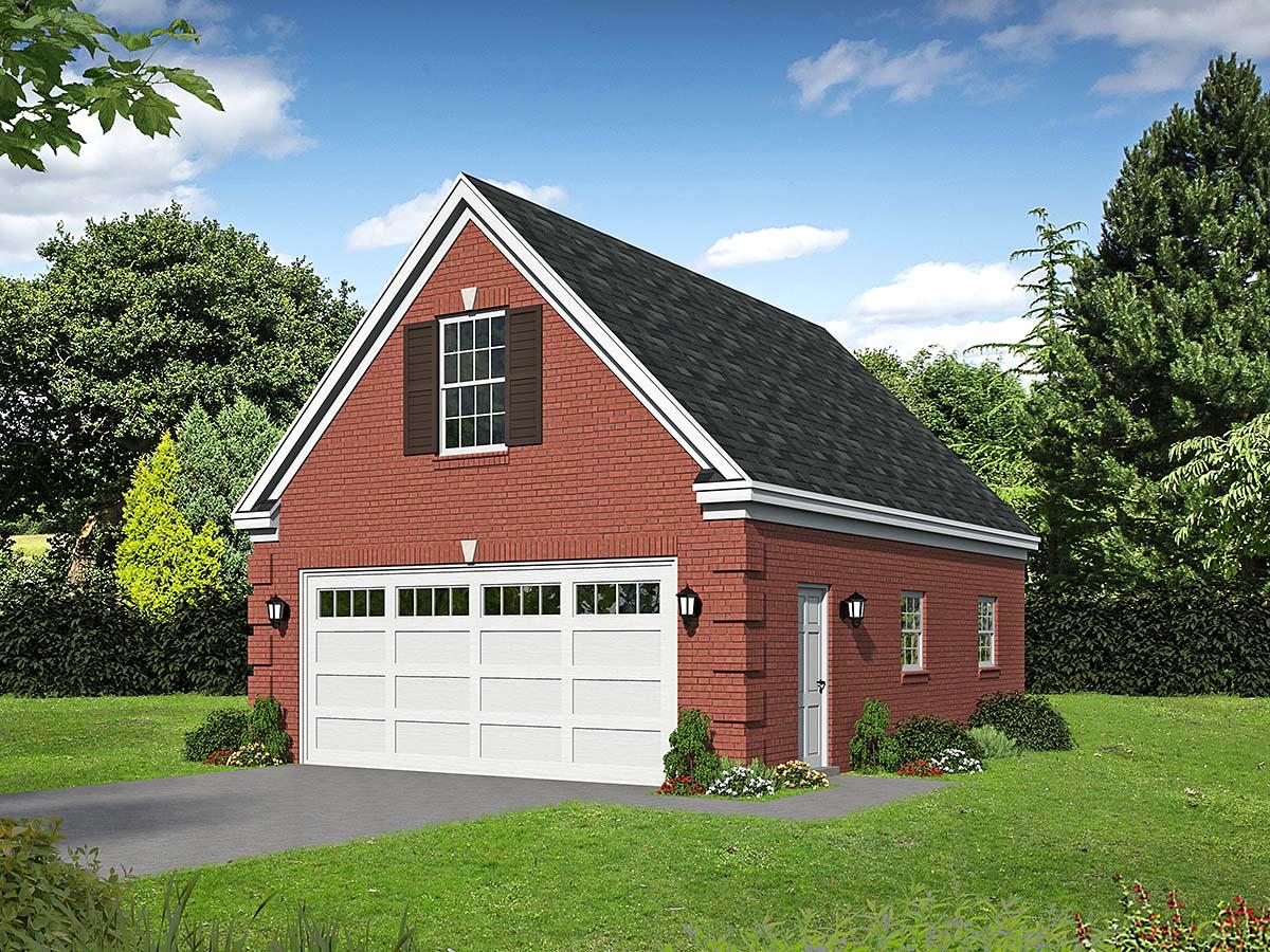 Bungalow, Craftsman, Traditional 2 Car Garage Apartment Plan 52114 Elevation